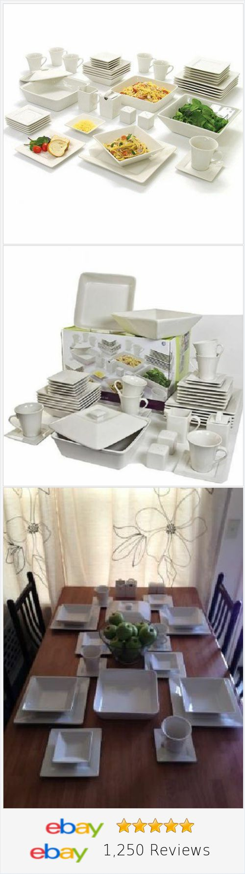 45 Piece White Dinnerware Set Square Banquet Plates Dishes Bowls ...