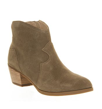 Office Courtney Suede Western Boot Taupe Ankle Boots