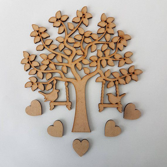 WWS Family Tree Set MDF Laser Cut Wooden Craft Blank,Shape,Wedding,Guestbook