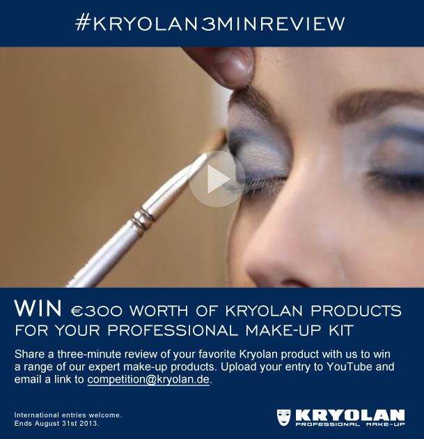 Launching Kryolan THREE MINUTE REVIEWS, we want you to create a short review film of your all time favorite Kryolan product in a video up-to three minutes long, and explain why you think all MUAs should use it.   A panel of judges, including professional MUAs and KRYOLAN Director, Dominik Langer, will select winners.  Upload your video on to YouTube, send link to competition@Kryolan.de.  Three winners will win an essential Kryolan professional make-up hamper worth €300. Closes 31st August.