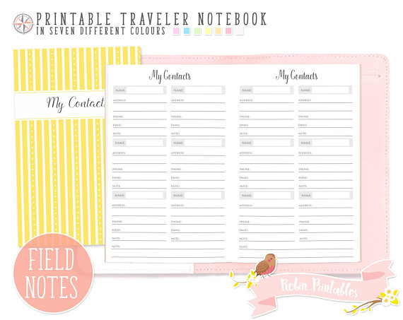 Pocket My Contacts List Traveler Notebook Refill Field Notes - printable contact list