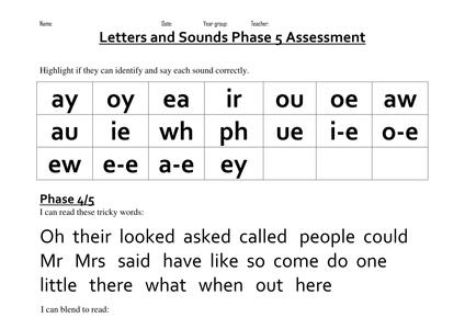 Phase 5 Phonics Assessment Doc Phonics Assessments Phonics Phonics Worksheets Free