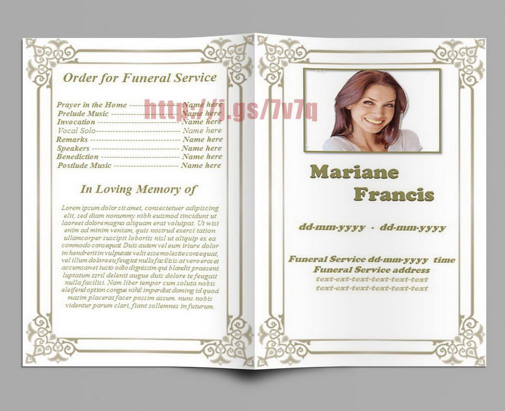 Obituary Memorial and Funeral Program Template Funeral Program
