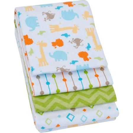 Walmart Swaddle Blankets Glamorous Garanimals 4Pack Receiving Blankets Green  Walmart  Baby Design Decoration