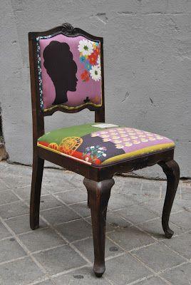 La tapicera silla descalzadora tapizada con tela retro - Tela para tapizar sillas de comedor ...