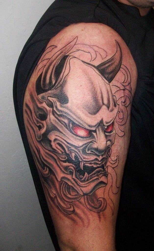 837a0980f Japanese Oni Mask, Oni Mask Tattoo, Samurai Tattoo, Tattoos With Meaning,  Color