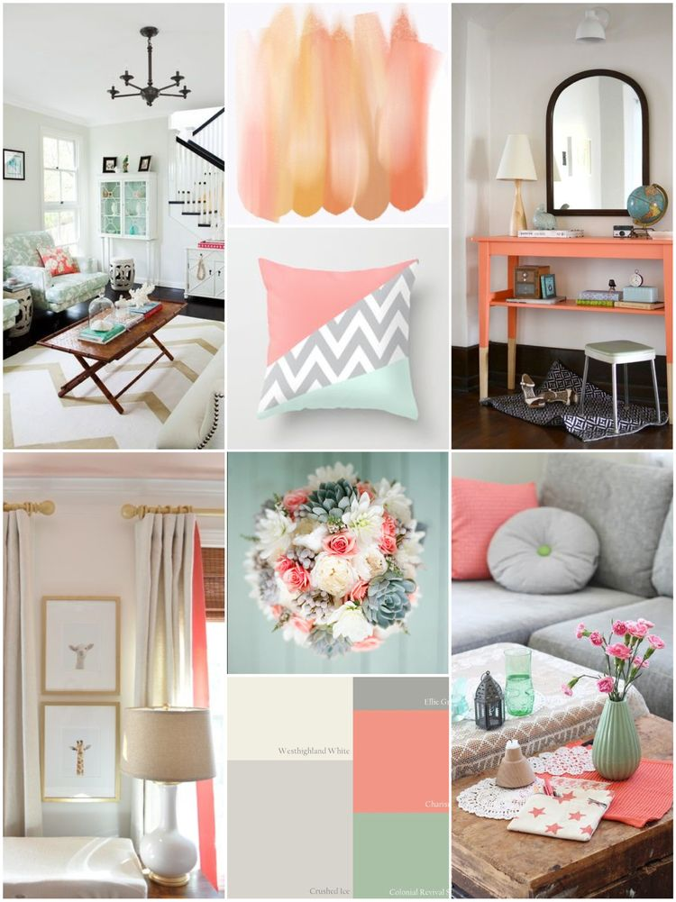 Coral and Grey Living Space Inspiration | Living room decor ...