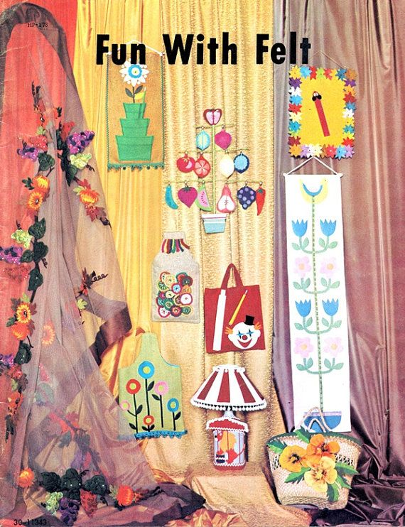 Fun With Felt Folk Art Wall Hanging Flowers Fruits Bookmark Tote Bag ...