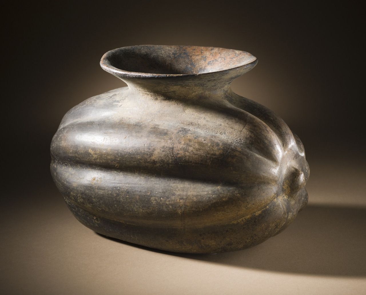 Squash vessel, made in Colima, Mexico, 200 BC-500 AD