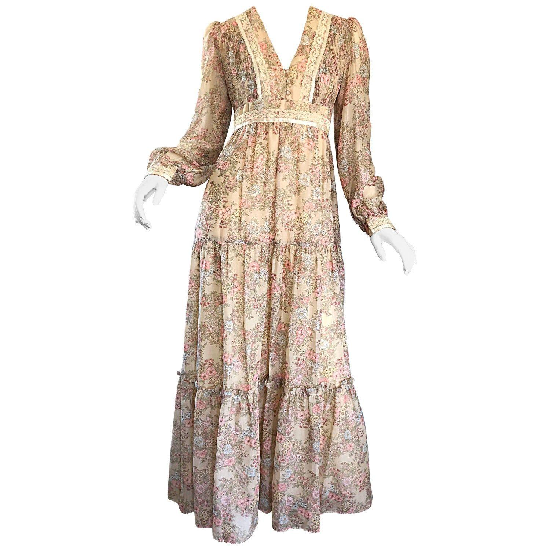Pretty 1970s Boho Cotton Voile Lace Flower Print Long Sleeve 70s Maxi Dress In 2021 70s Maxi Dress Long Sleeve Maxi Dress Designer Evening Dresses [ 1500 x 1500 Pixel ]