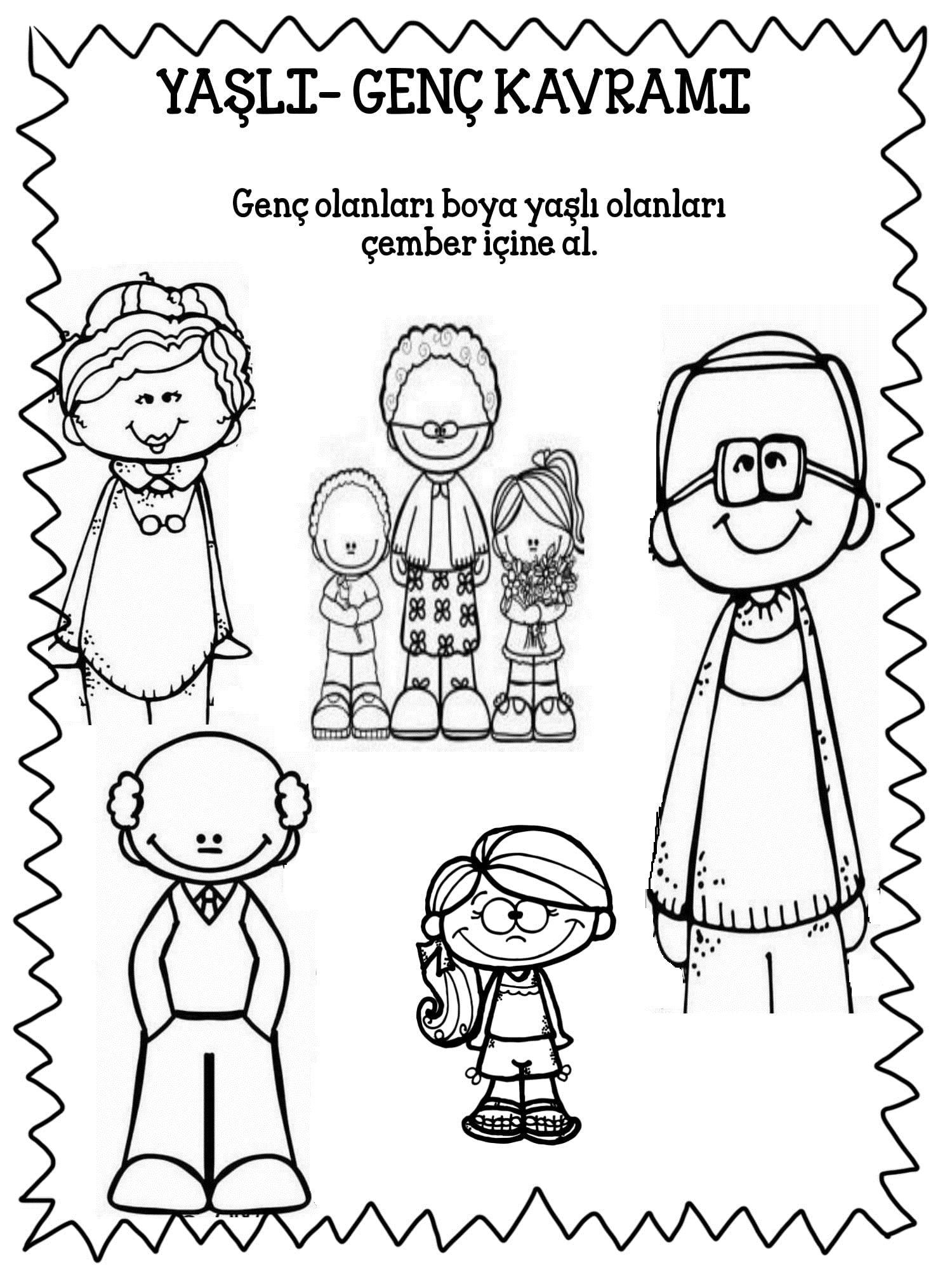 Yasli Genc Calisma Sayfasi Calisma Tablolari Okul Boyama Kitaplari