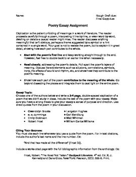 Poetry Explication Essay With Rubric  Teacherspayteachers  This Essay Asks Students To Pick A Poem Of Their Choice Written By One Of  Eight Different Poets And Write An Explication Of That Poem