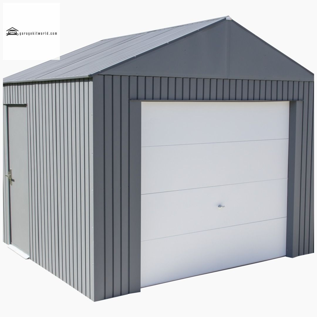 Everest Charcoal 12 X 10 Metal Garage Kit Garage Homeimprovementideas Outbuildings Garagekits Garagekit Port Metal Garage Kits Metal Garages Garage Kits