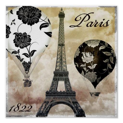 Globos del aire caliente de la torre Eiffel de Par Posters 0386dff2bd60c