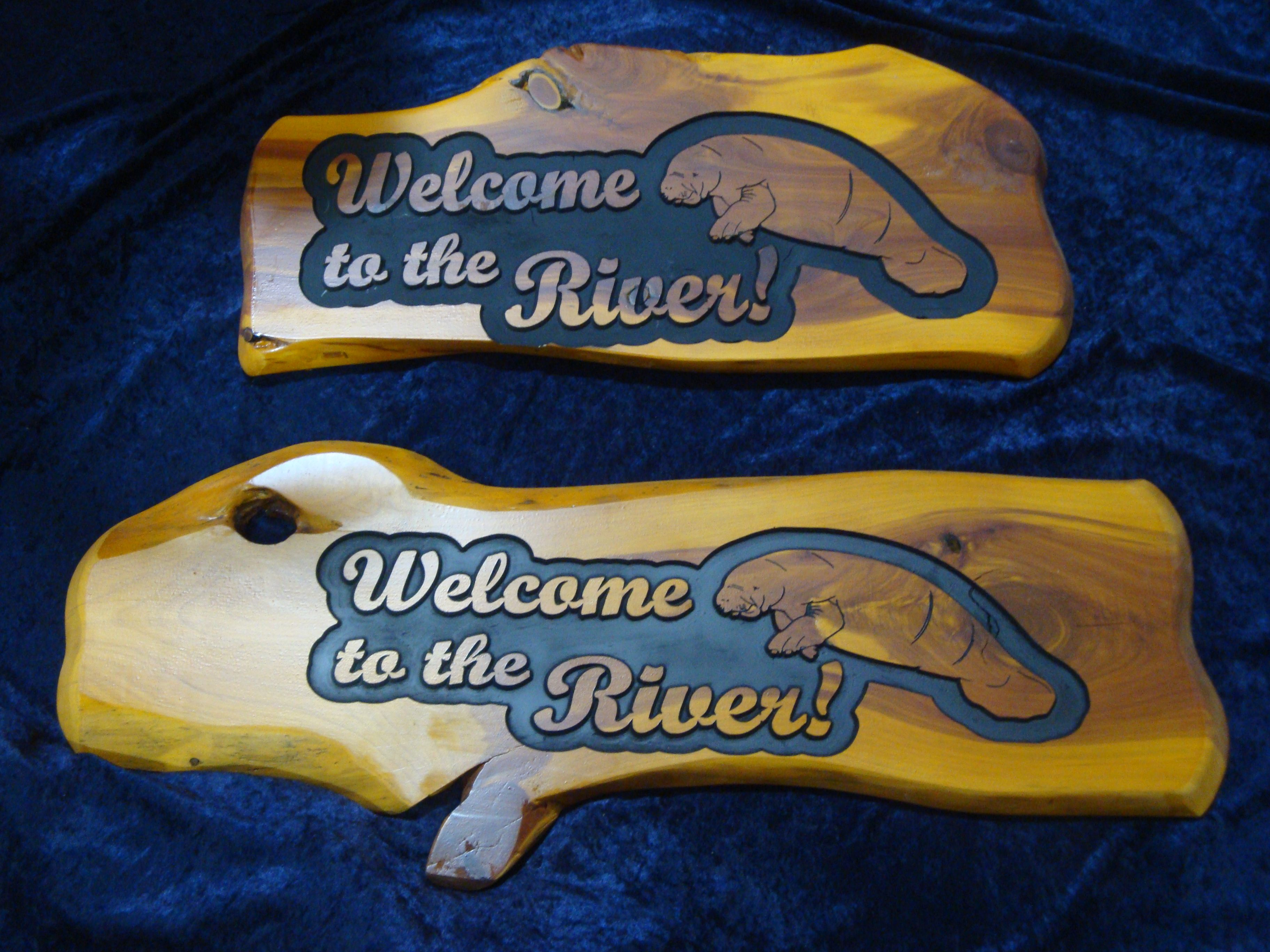 Welcome to the River  Carved wood signs with Manatee Carvings
