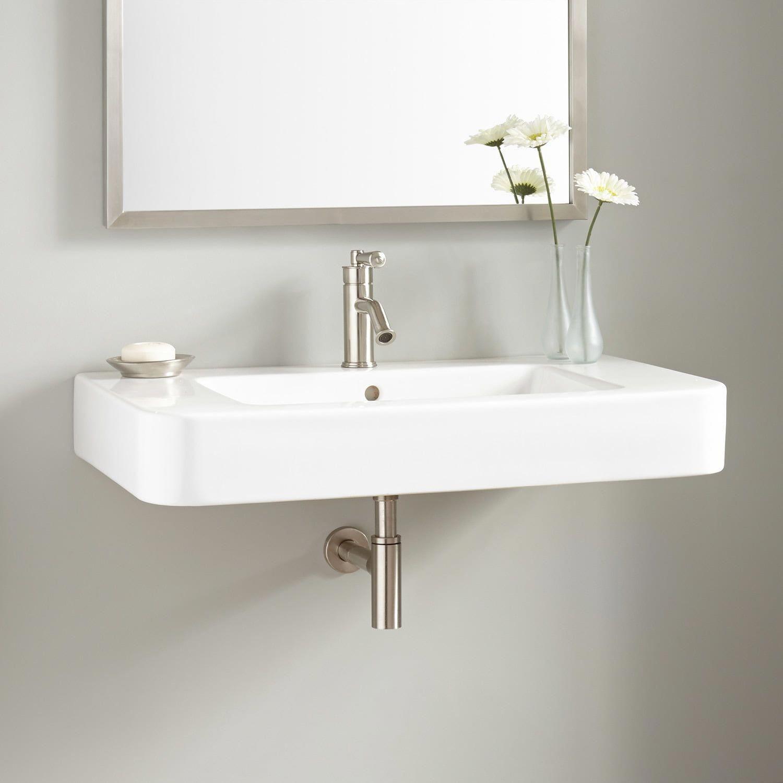 34 Burleson Porcelain Wall Mount Sink In 2020 Wall Mounted Sink Bathroom Sink Design Wall Mounted Bathroom Sinks