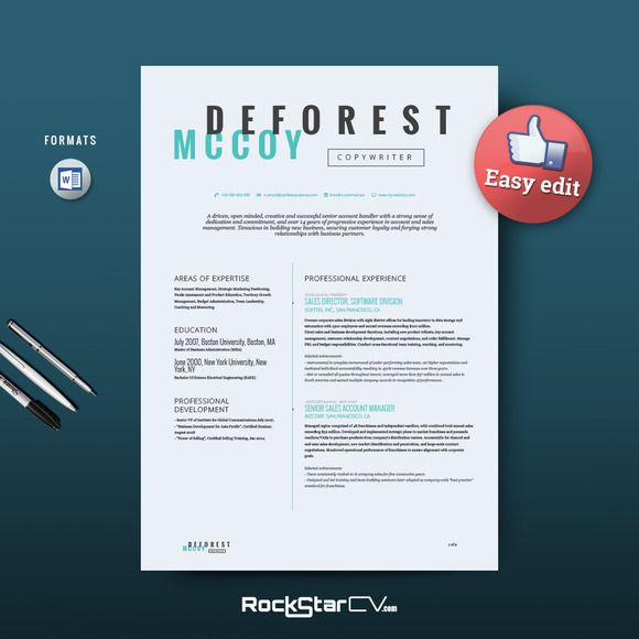 Copywriter Resume Template by Resume Templates on Creative Market - resume templates for indesign