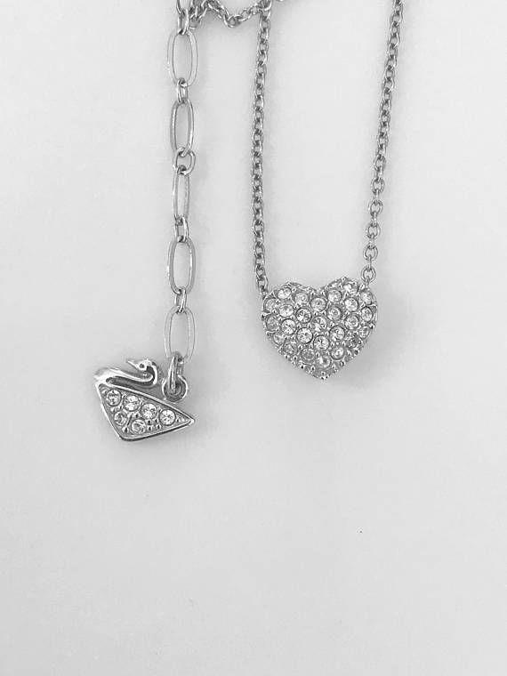 14k Gold White Rhodium Mini Size Contemporary Design Open Heart Pendant Charm Created CZ Crystals