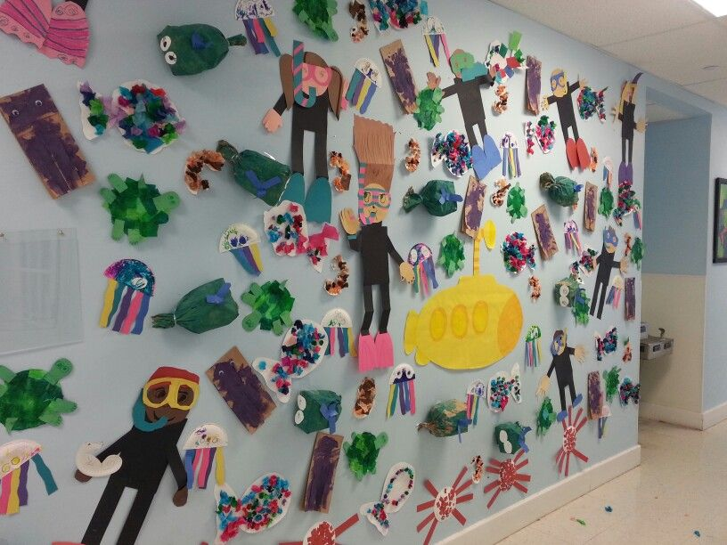 Art wall. Every class had a different ocean theme. Scuba diver, turtle, octopus, jelly fish, whales, sea horse, crabs.