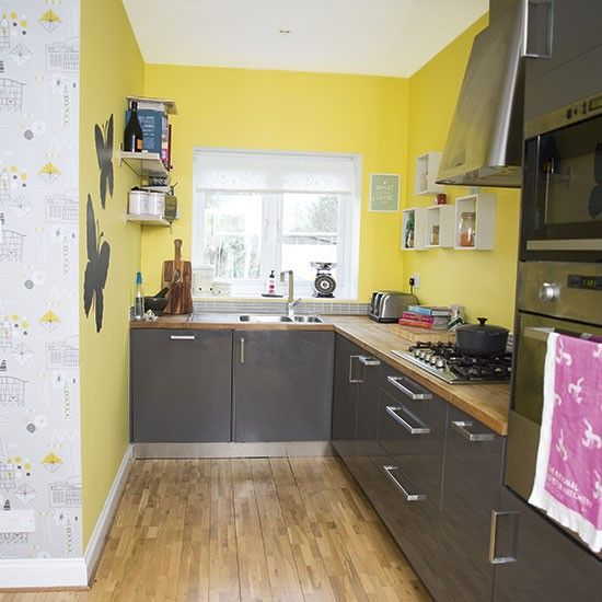 Yellow Paint For Kitchen Walls: Yellow And Grey Kitchen