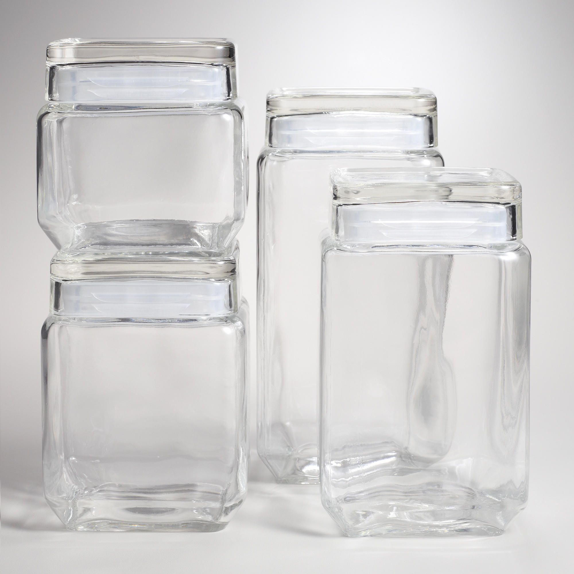 Stackable Square Glass Jars World Market For Organizing Pantry