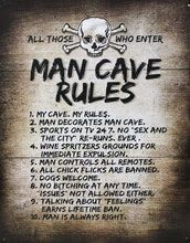 Man Cave Rules Metal Sign #mancavegarage