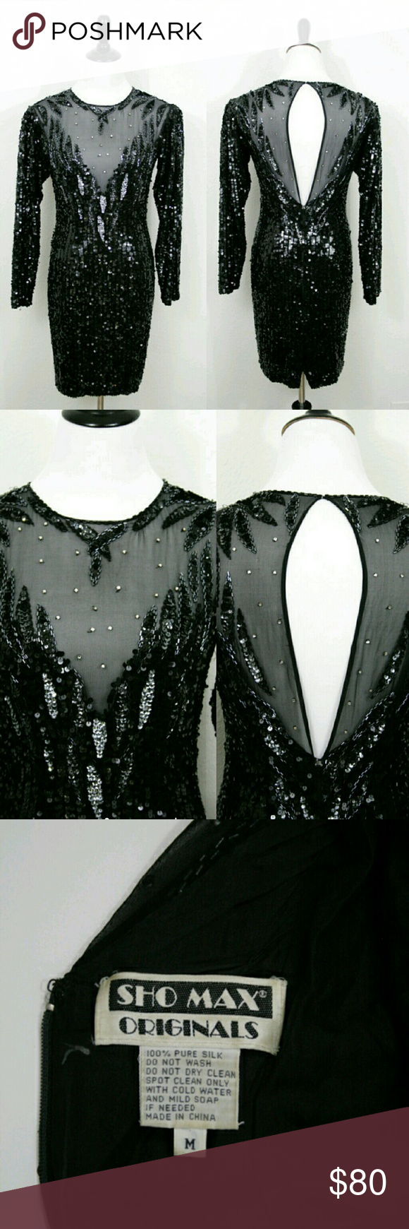 Vintage sequined little black dress sexy and sophisticated vintage