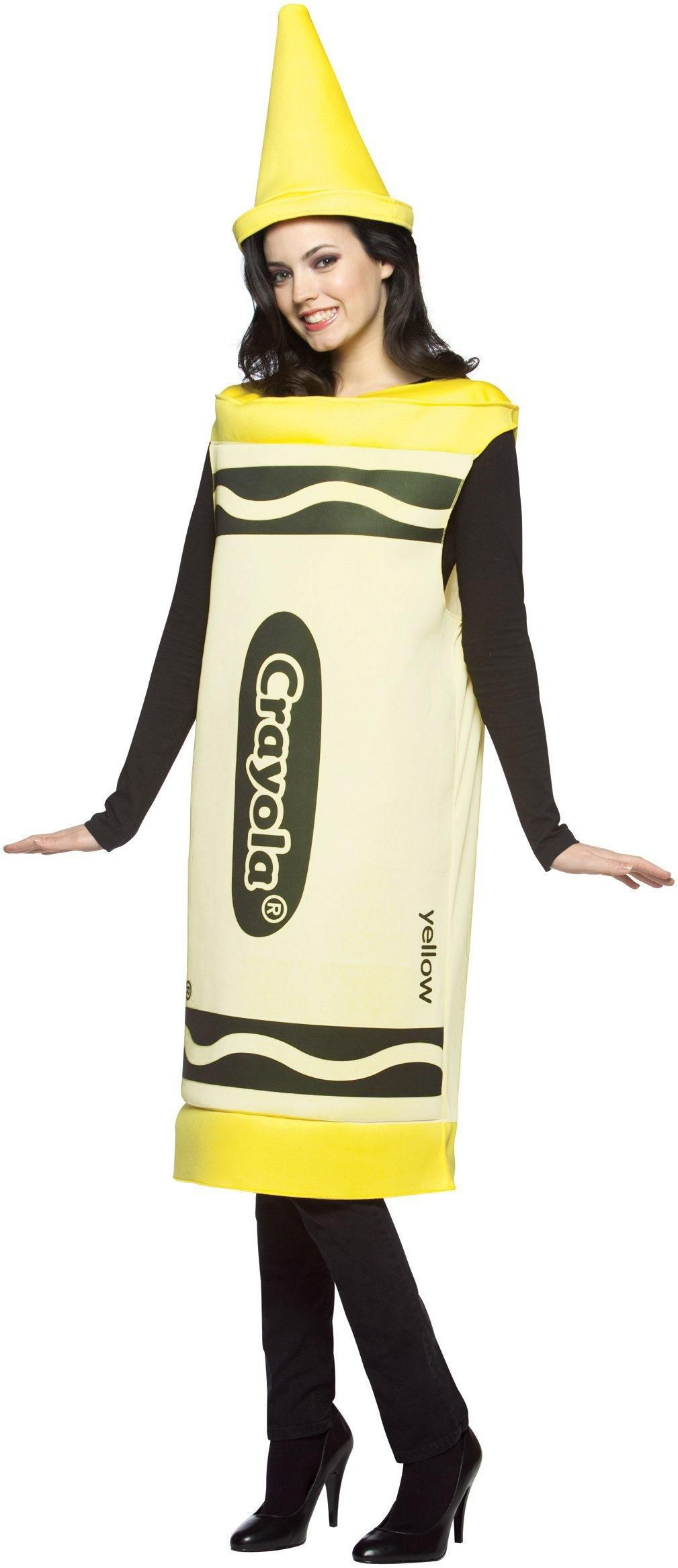 crayola yellow crayon adult costume from costumeexpress
