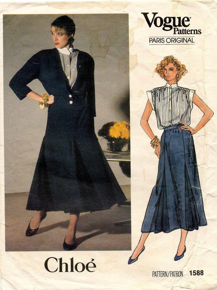 VTG VOGUEParis Original Misses Jacket,Skirt&Blouse Chloe Pattern 1588 Size 12