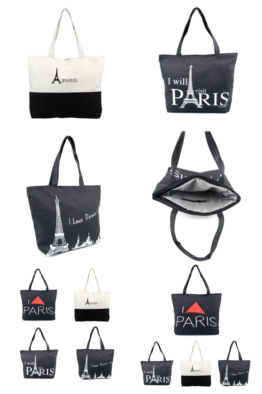 Zip Tote Bag Eiffel Tower Womens Handbags Shoulder Bags Satchel Purse