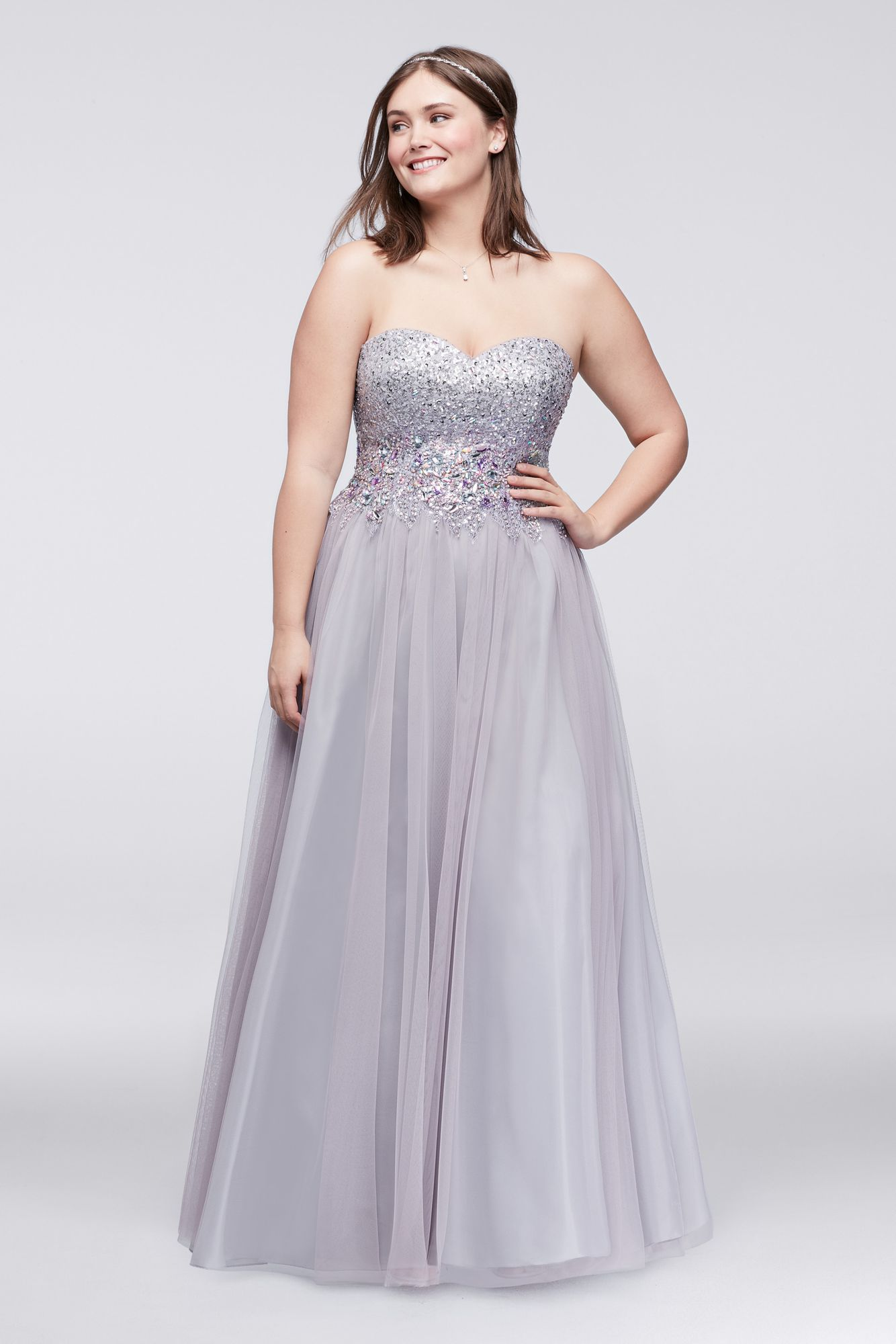 New style plus size strapless beaded dw tulle ball gown dress