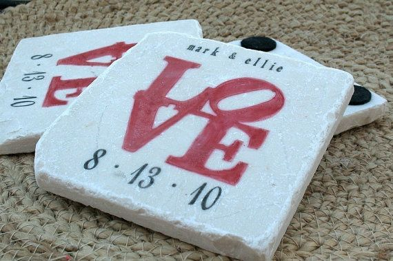 Wedding Statue Gifts: Personalized Coasters, Red Love Statue Tile Coasters, Set