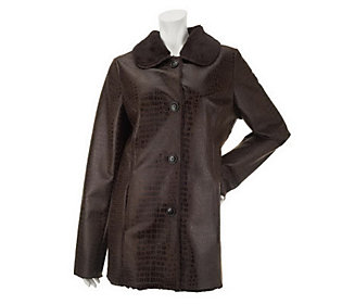 Dennis Basso Button Front Reptile Print Faux Shearling Jacket
