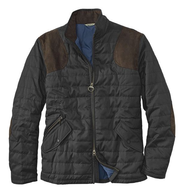 Men's jacket by Barbour, baffle-quilted with faux suede elbow ...