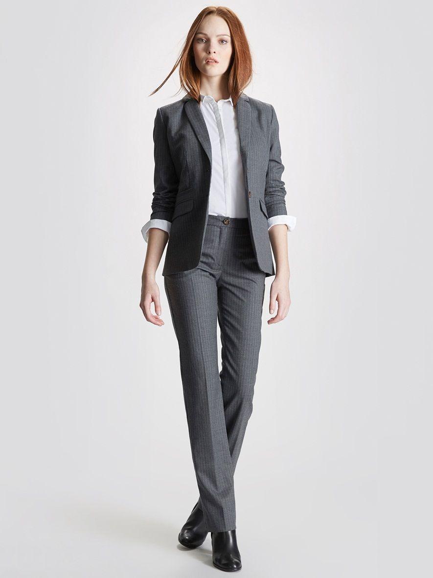 Silhouettes Veste tailleur femme working rayée + Pantalon tailleur working femme  rayé + Boots femme à talon + Chemise femme popeline unie - 8682d76e676e