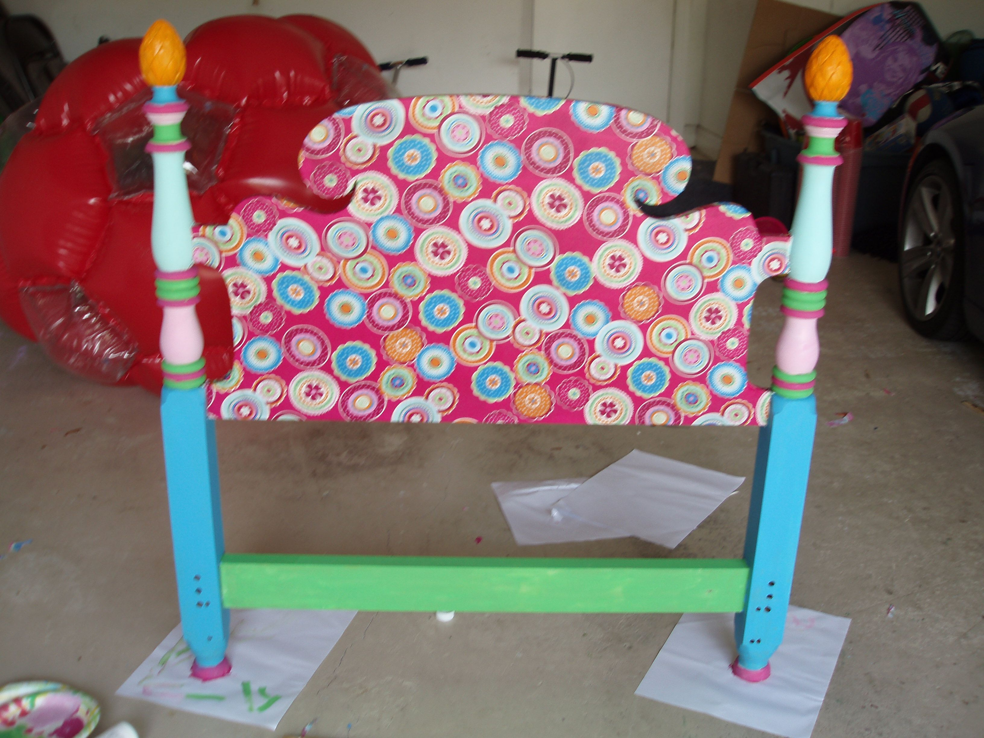 Mod Podge And Paint Headboard For Little Girls Room Things I