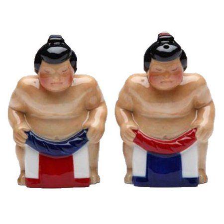 Huge Japanese Sumo Wrestlers Salt and Pepper Shakers Set