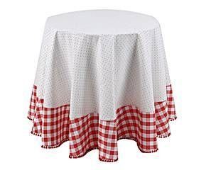 COTTON TABLECLOTH RED AND WHITE - Ø180