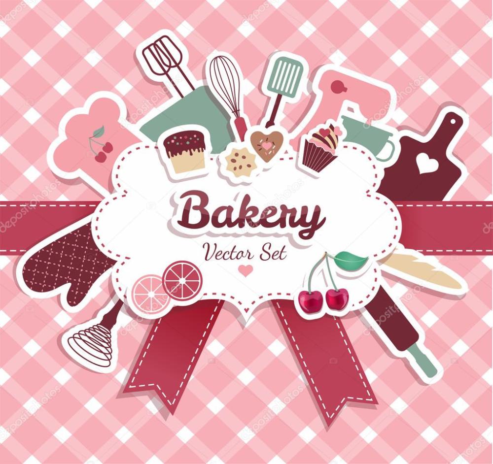 Panadería y dulces — Ilustración de stock Logos de