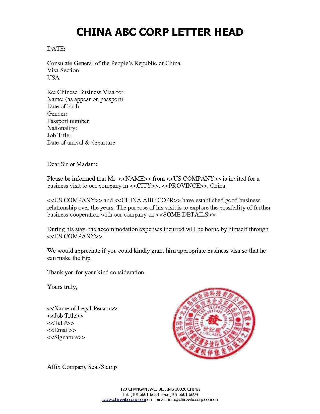 Sample Invitation Letter for Visitor Visa China New New