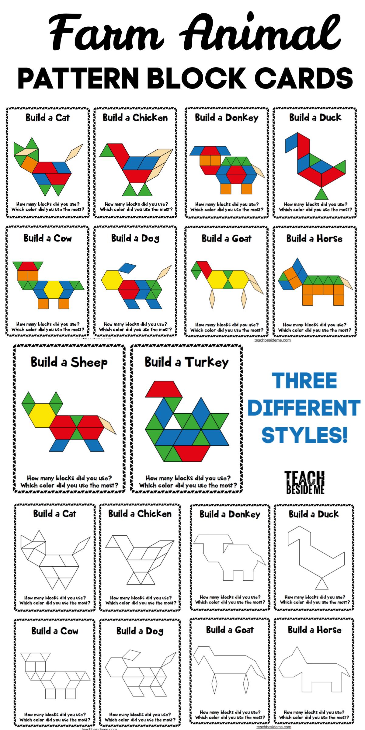 Farm Animal Pattern Block Cards Farm Animals Preschool Farm Math Activities Farm Preschool [ 2400 x 1200 Pixel ]