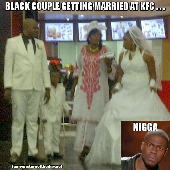 Funny Memes For Married Couples : Black couple getting married at kfc funny wedding kevin