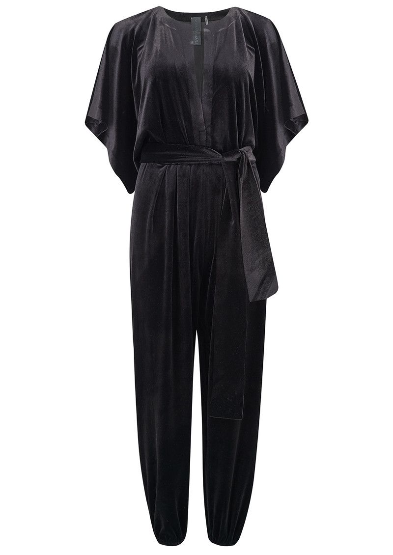 70a203019e Shop the NORMA KAMALI Rectangle Velvet Jumpsuit - Black online at The  Dressing Room. Get