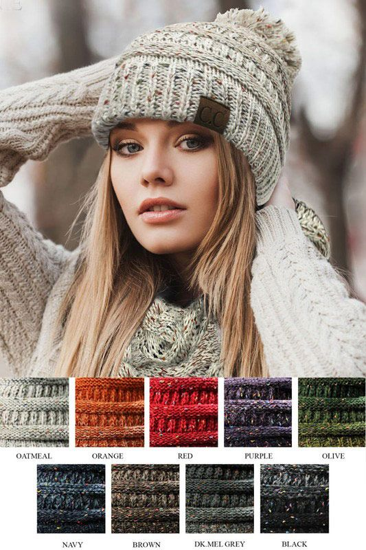 Ombre Confetti Knit Beanie Hat with Pom Pom by CC  e3a1864ff1f