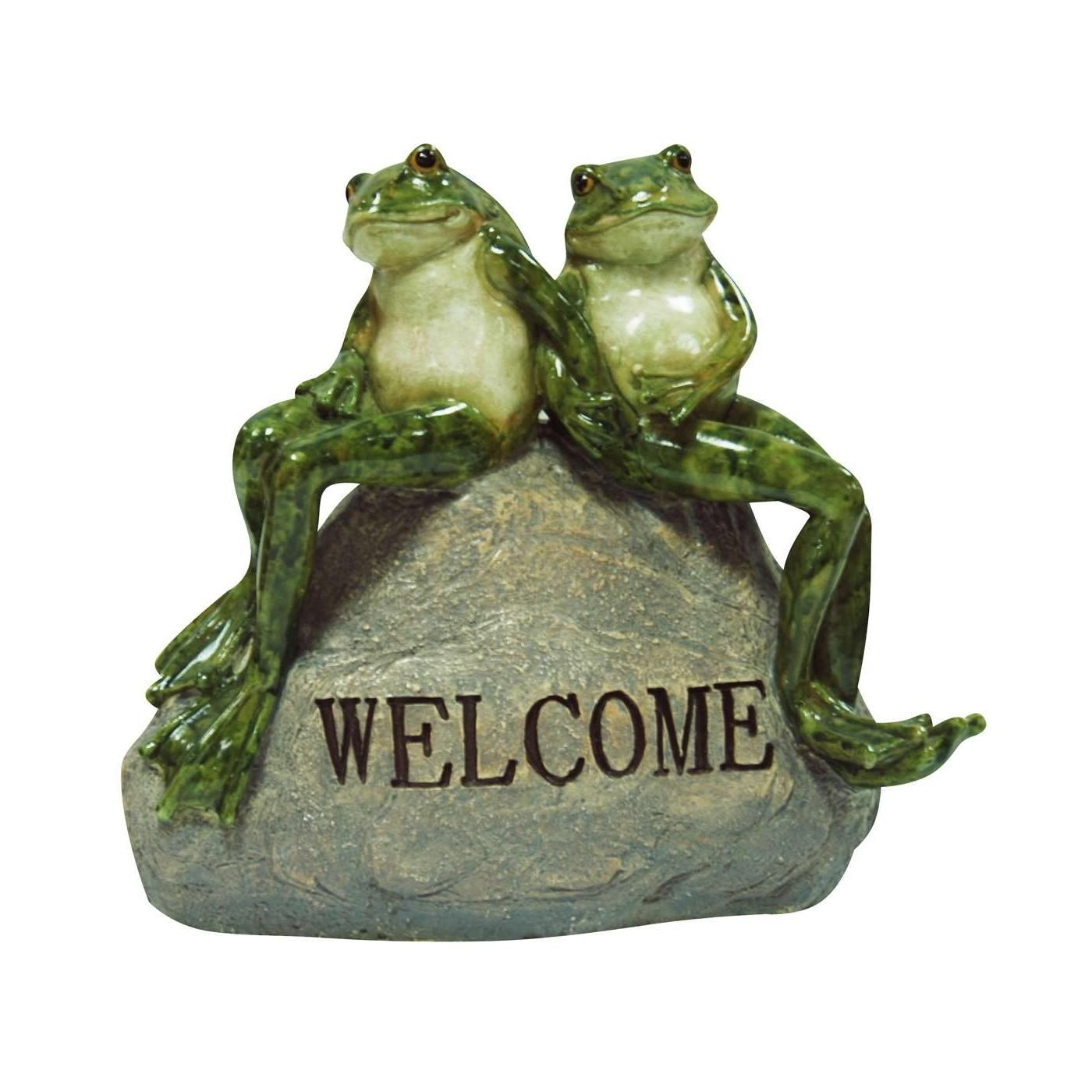 This Delightful Garden Statue Featuring 2 Frogs Sitting On Rock By Alpine  Will Add A Nice