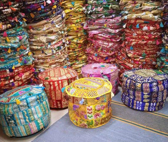 Multicolor Decorative Indian Handmade Vintage Pouf Cover, Khambadiya Patchwork Round Floor Cushion C