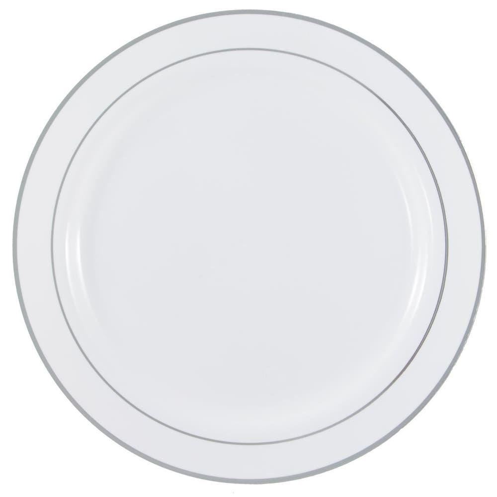 Disposable white with metallic rim plastic round plates