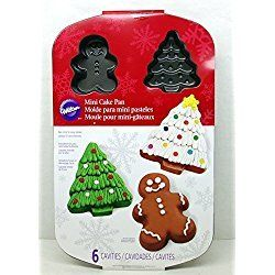 Wilton Mini Christmas Cake Pan Gingerbread Man Christmas Tree 6 Molds Non Stick Mini Christmas Cakes Christmas Cake Cake Pans