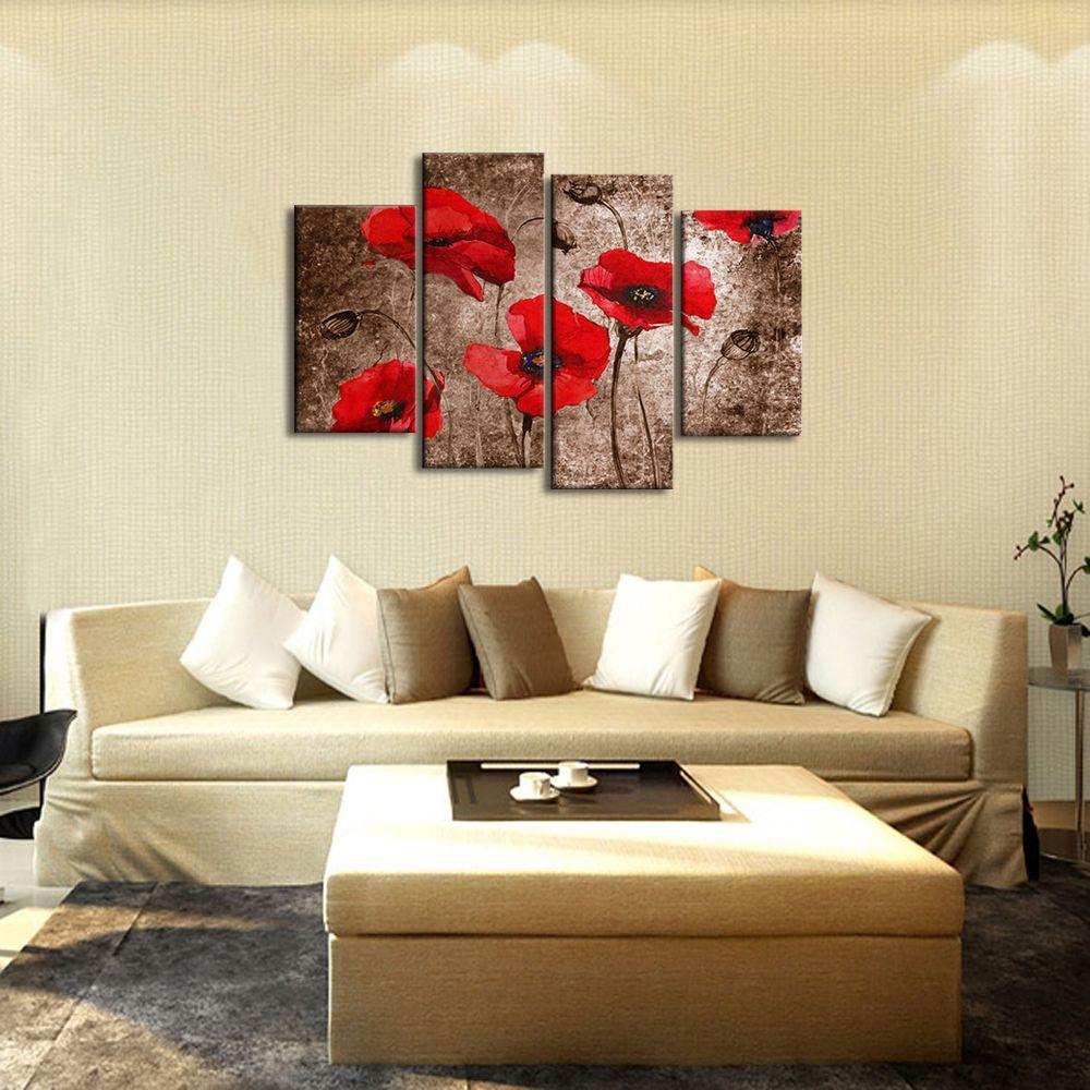 Quadri con fiori rossi dipinti a mano olio su tela con for Quadri di fiori ad olio