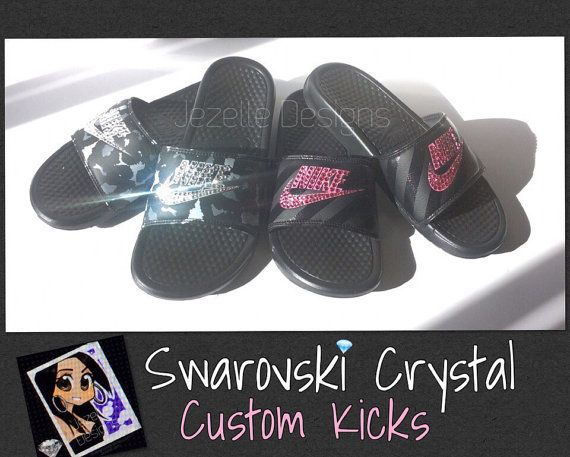 50ee1dc096838 Swarovski Nike Slide Sandals - Women s Bling Nike Benassi Sliders ...